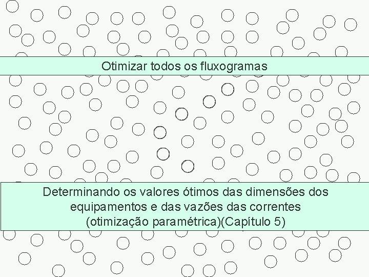 Otimizar todos os fluxogramas Determinando os valores ótimos das dimensões dos equipamentos e das