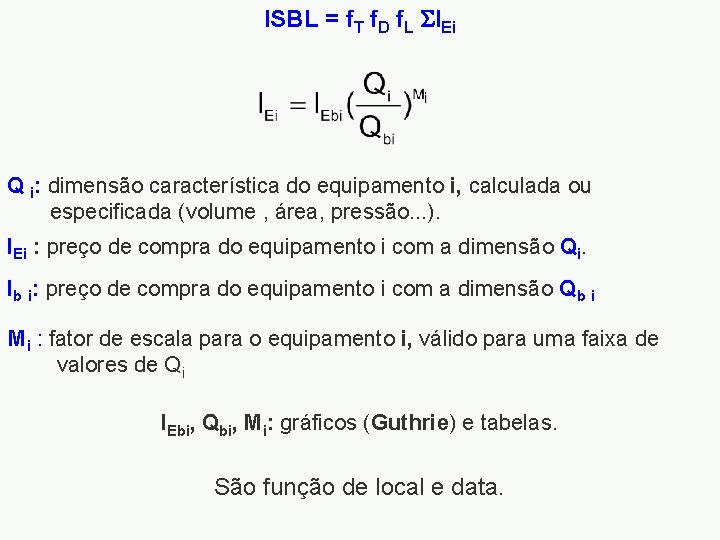 ISBL = f. T f. D f. L IEi Q i: dimensão característica do