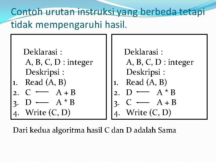 Contoh urutan instruksi yang berbeda tetapi tidak mempengaruhi hasil. 1. 2. 3. 4. Deklarasi