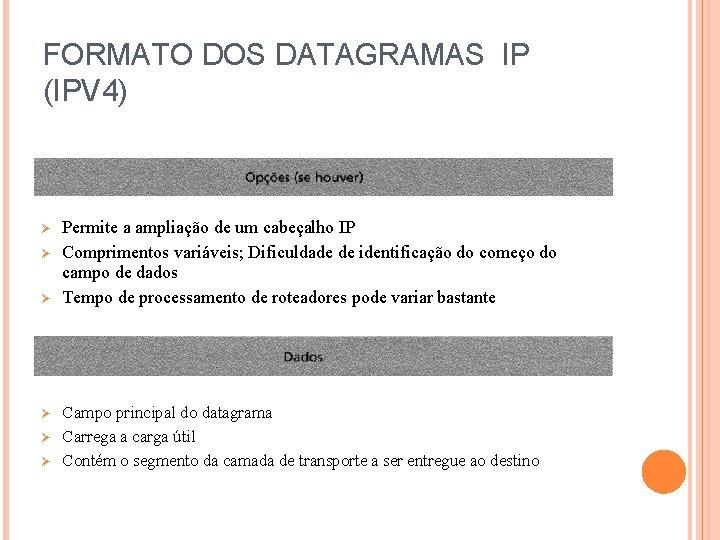 FORMATO DOS DATAGRAMAS IP (IPV 4) Ø Ø Ø Permite a ampliação de um