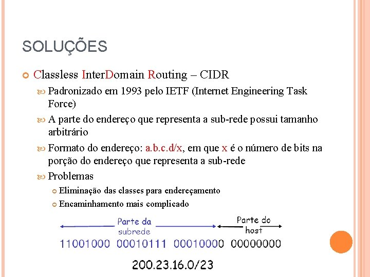 SOLUÇÕES Classless Inter. Domain Routing – CIDR Padronizado em 1993 pelo IETF (Internet Engineering