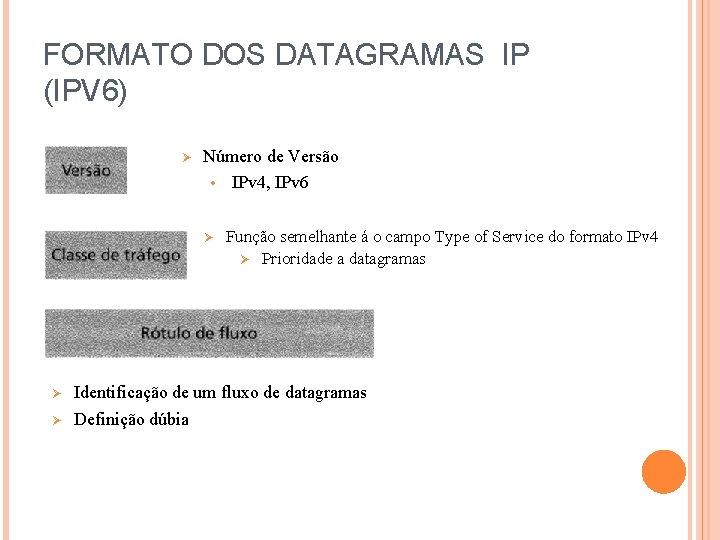 FORMATO DOS DATAGRAMAS IP (IPV 6) Ø Número de Versão • IPv 4, IPv