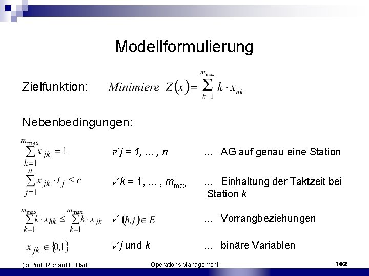 Modellformulierung Zielfunktion: Nebenbedingungen: (c) Prof. Richard F. Hartl j = 1, . . .