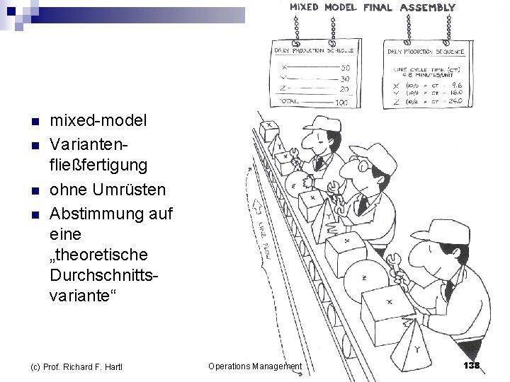 """n n mixed model Varianten fließfertigung ohne Umrüsten Abstimmung auf eine """"theoretische Durchschnitts variante"""""""