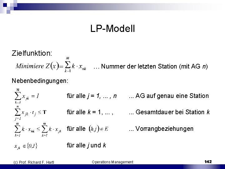 LP Modell Zielfunktion: … Nummer der letzten Station (mit AG n) Nebenbedingungen: (c) Prof.