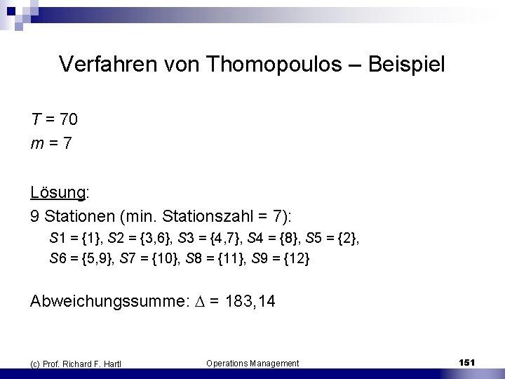 Verfahren von Thomopoulos – Beispiel T = 70 m = 7 Lösung: 9 Stationen