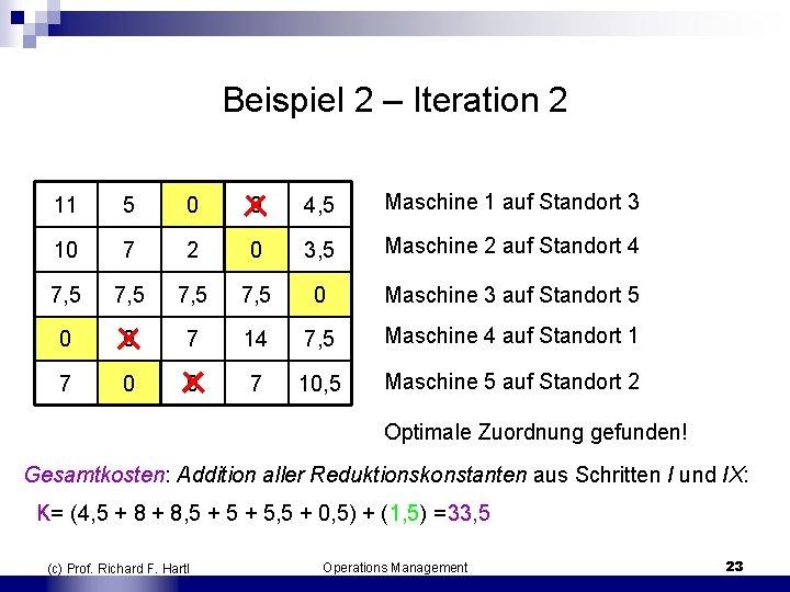Beispiel 2 – Iteration 2 11 5 0 0 4, 5 Maschine 1 auf