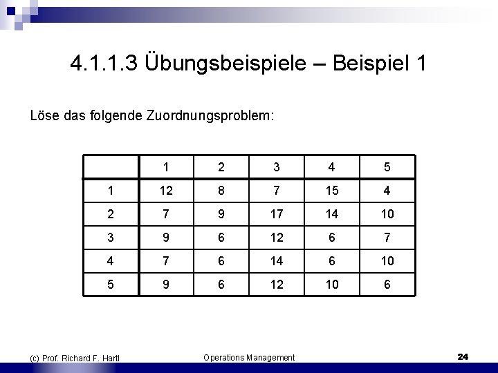 4. 1. 1. 3 Übungsbeispiele – Beispiel 1 Löse das folgende Zuordnungsproblem: 1 2