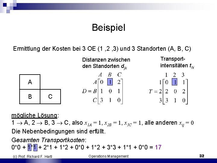 Beispiel Ermittlung der Kosten bei 3 OE (1 , 2 , 3) und 3