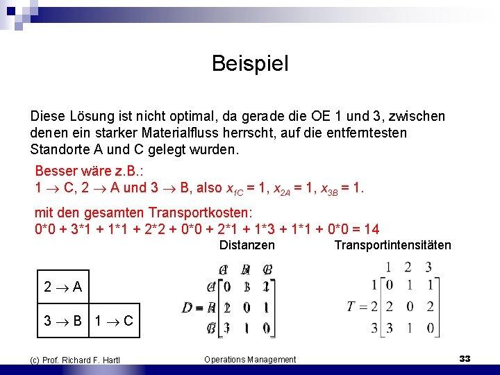 Beispiel Diese Lösung ist nicht optimal, da gerade die OE 1 und 3, zwischen