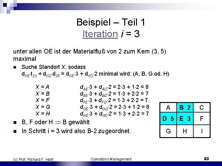 Beispiel – Teil 1 Iteration i = 3 unter allen OE ist der Materialfluß
