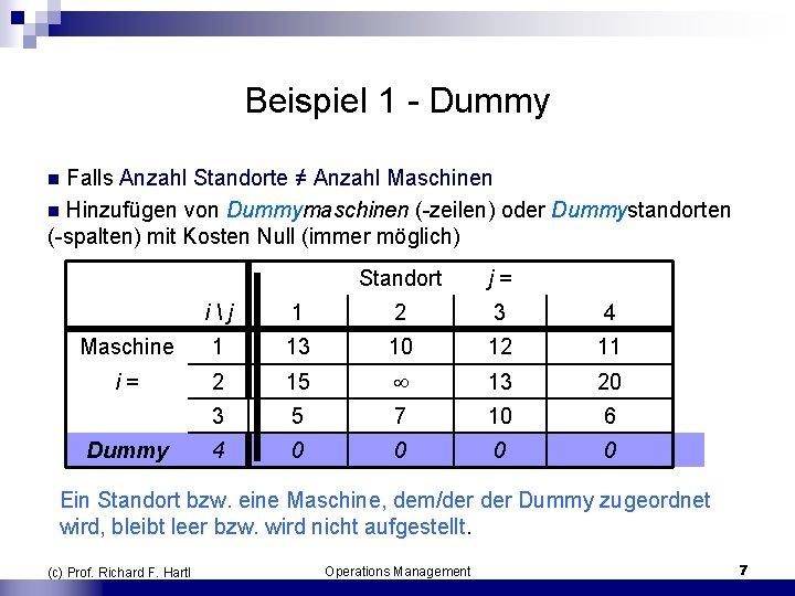 Beispiel 1 Dummy n Falls Anzahl Standorte ≠ Anzahl Maschinen n Hinzufügen von Dummymaschinen