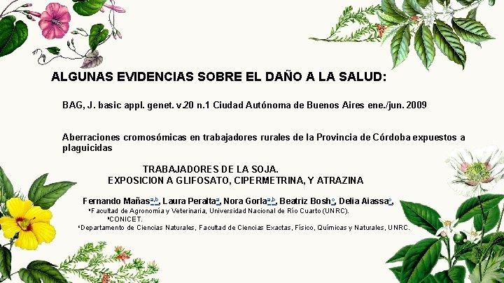 ALGUNAS EVIDENCIAS SOBRE EL DAÑO A LA SALUD: BAG, J. basic appl. genet. v.