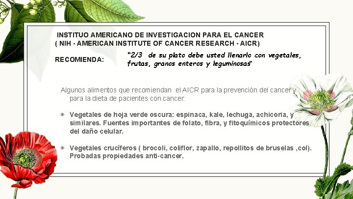 INSTITUO AMERICANO DE INVESTIGACION PARA EL CANCER ( NIH - AMERICAN INSTITUTE OF