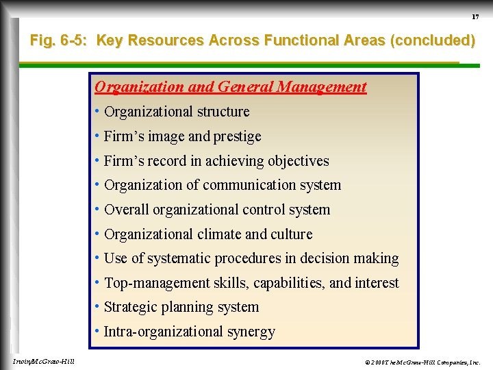 17 Fig. 6 -5: Key Resources Across Functional Areas (concluded) Organization and General Management