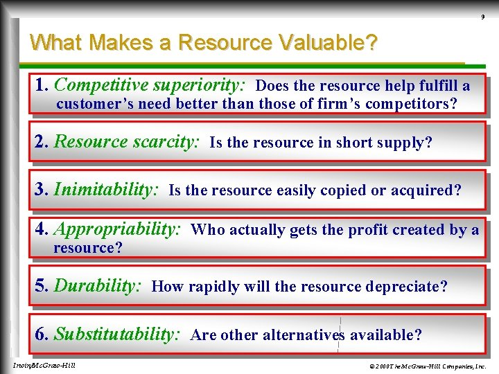 9 What Makes a Resource Valuable? 1. Competitive superiority: Does the resource help fulfill