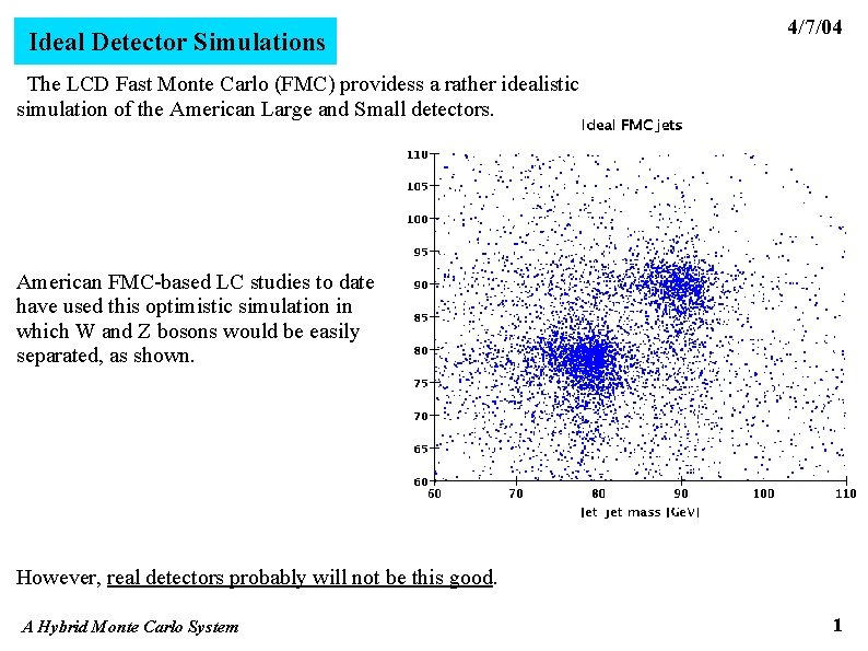 Ideal Detector Simulations 4/7/04 The LCD Fast Monte Carlo (FMC) providess a rather idealistic