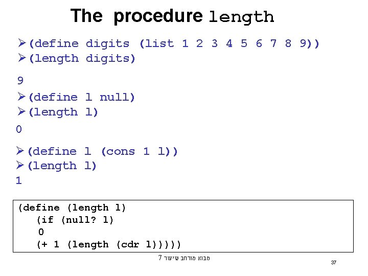 The procedure length Ø(define digits (list 1 2 3 4 5 6 7 8