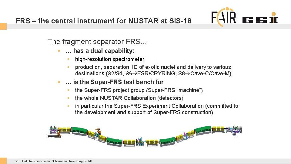FRS – the central instrument for NUSTAR at SIS-18 The fragment separator FRS… §