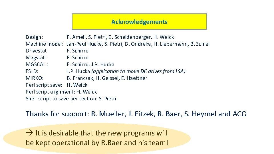 Acknowledgements Design: F. Ameil, S. Pietri, C. Scheidenberger, H. Weick Machine model: Jan-Paul Hucka,