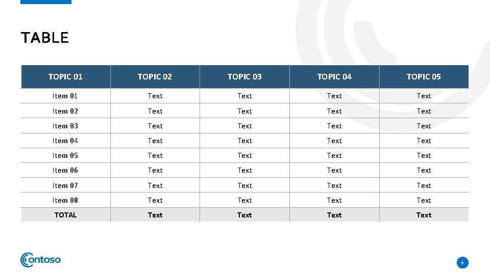 TABLE TOPIC 01 TOPIC 02 TOPIC 03 TOPIC 04 TOPIC 05 Item 01 Text