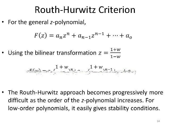 Routh-Hurwitz Criterion • 14