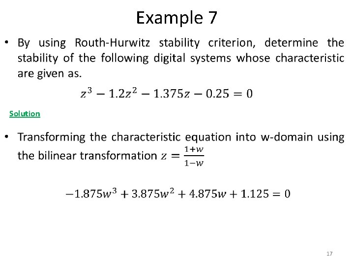Example 7 • Solution 17