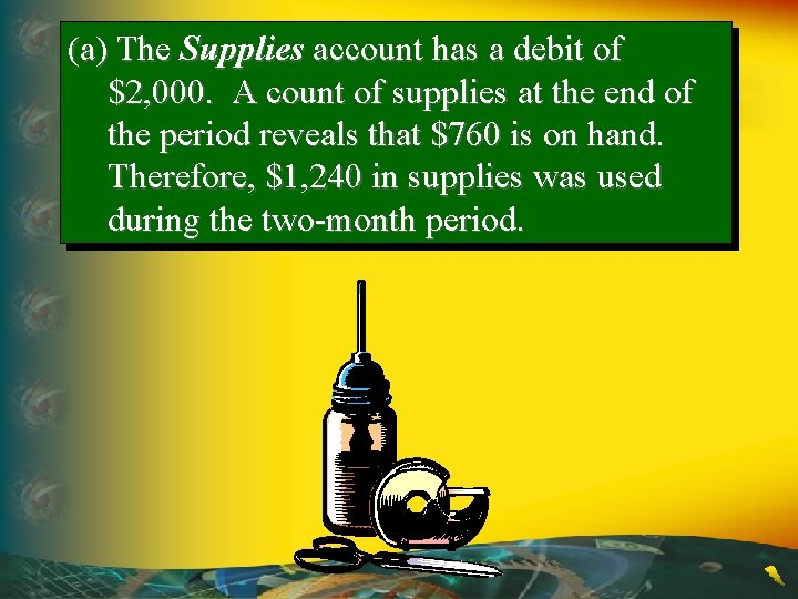 (a) The Supplies account has a debit of $2, 000. A count of supplies