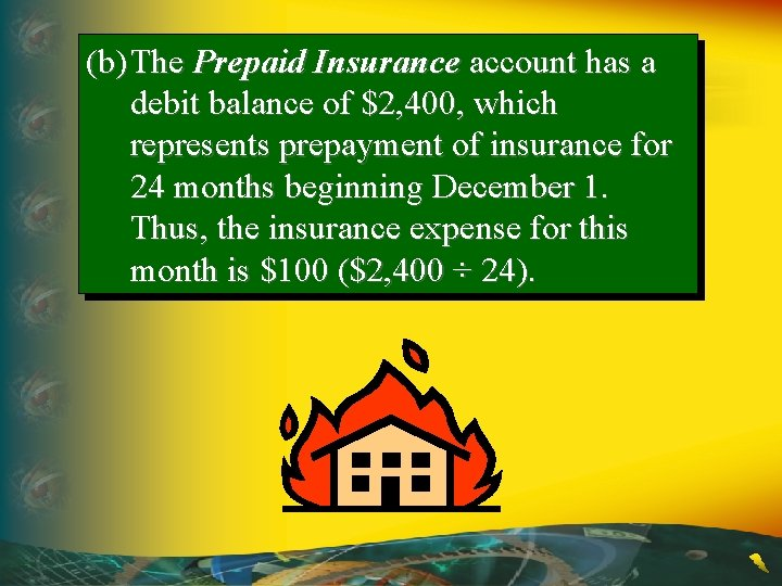 (b) The Prepaid Insurance account has a debit balance of $2, 400, which represents