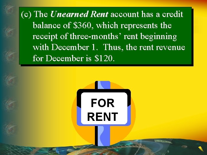(c) The Unearned Rent account has a credit balance of $360, which represents the