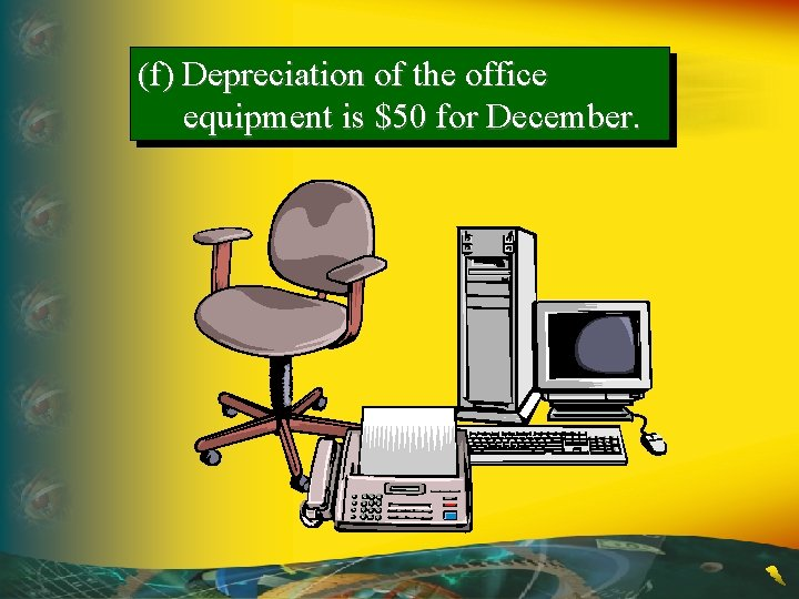 (f) Depreciation of the office equipment is $50 for December.