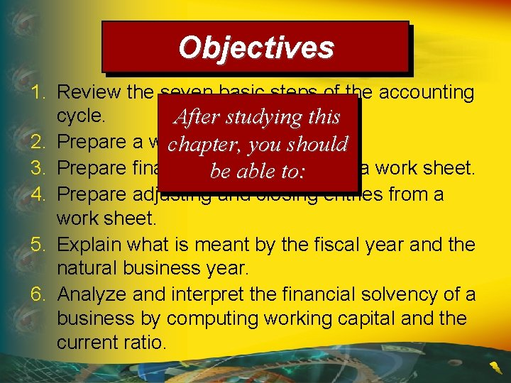 Objectives 1. Review the seven basic steps of the accounting cycle. After studying this