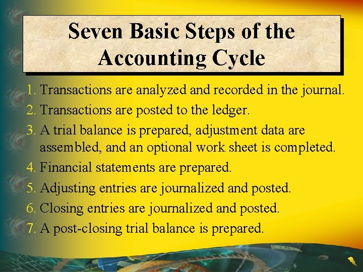 Seven Basic Steps of the Accounting Cycle 1. Transactions are analyzed and recorded in