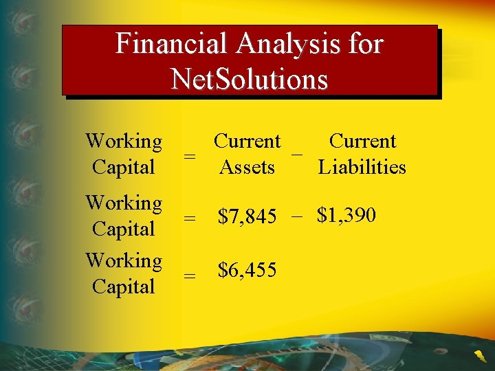 Financial Analysis for Net. Solutions Working Current – = Capital Assets Liabilities Working $7,
