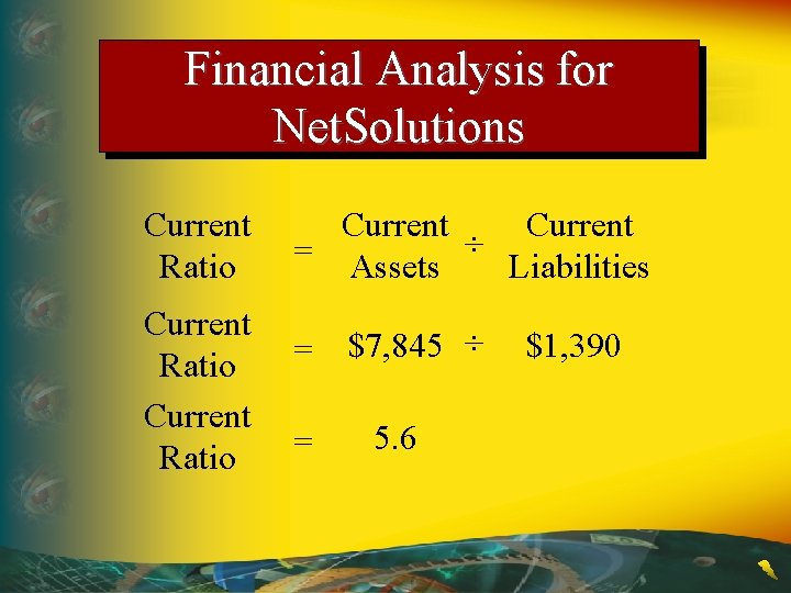 Financial Analysis for Net. Solutions Current Ratio Current = Assets ÷ Liabilities = $7,