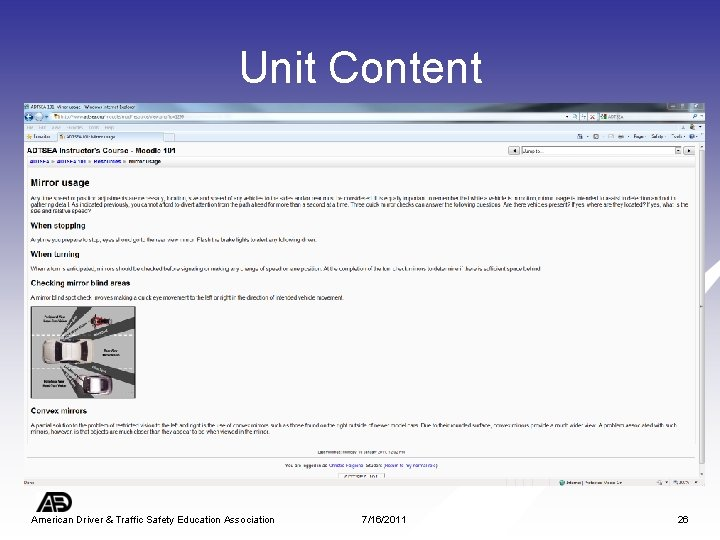 Unit Content American Driver & Traffic Safety Education Association 7/16/2011 26