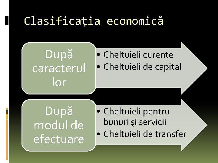 Clasificaţia economică După caracterul lor • Cheltuieli curente • Cheltuieli de capital După modul