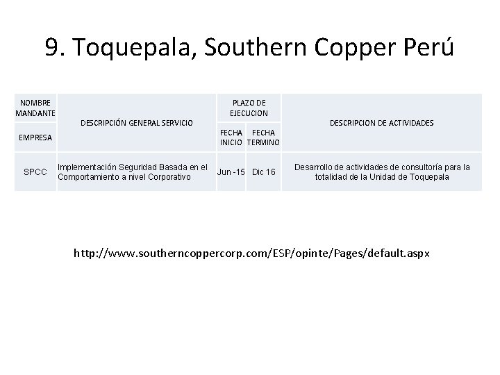 9. Toquepala, Southern Copper Perú NOMBRE MANDANTE DESCRIPCIÓN GENERAL SERVICIO EMPRESA SPCC Implementación Seguridad