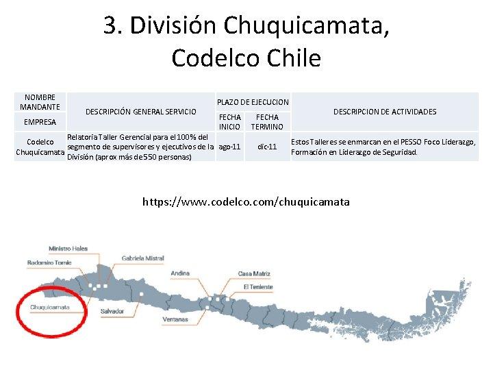 3. División Chuquicamata, Codelco Chile NOMBRE MANDANTE EMPRESA DESCRIPCIÓN GENERAL SERVICIO PLAZO DE EJECUCION