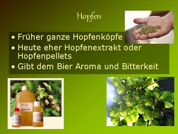 Hopfen • Früher ganze Hopfenköpfe • Heute eher Hopfenextrakt oder Hopfenpellets • Gibt dem