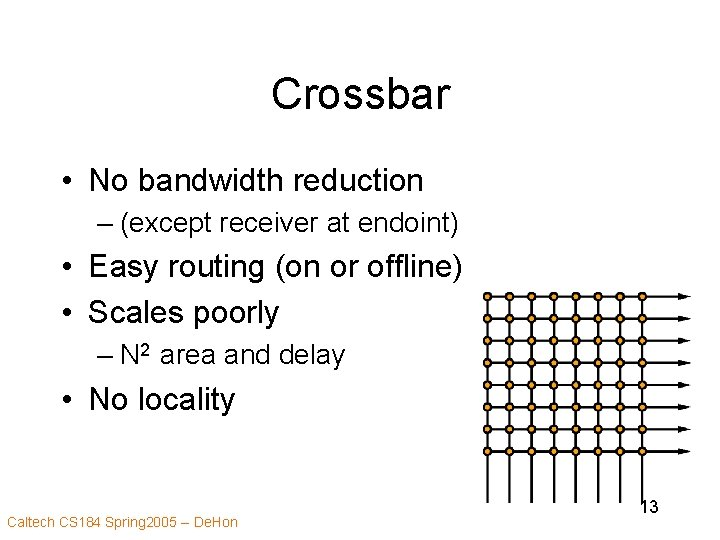 Crossbar • No bandwidth reduction – (except receiver at endoint) • Easy routing (on