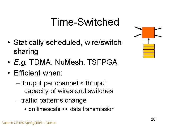 Time-Switched • Statically scheduled, wire/switch sharing • E. g. TDMA, Nu. Mesh, TSFPGA •