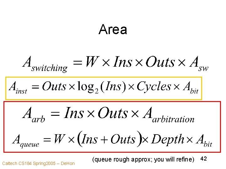 Area Caltech CS 184 Spring 2005 -- De. Hon (queue rough approx; you will
