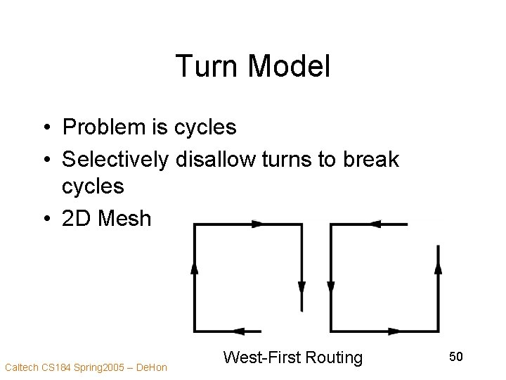 Turn Model • Problem is cycles • Selectively disallow turns to break cycles •