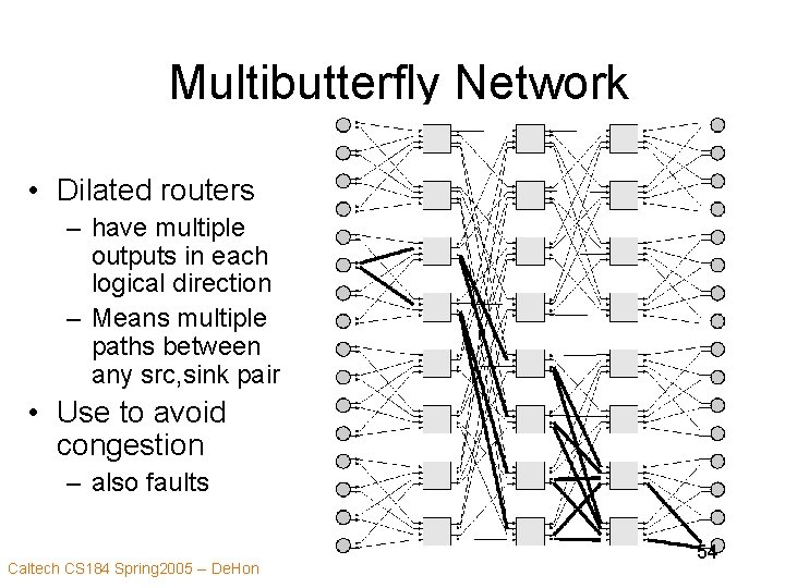 Multibutterfly Network • Dilated routers – have multiple outputs in each logical direction –