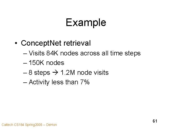 Example • Concept. Net retrieval – Visits 84 K nodes across all time steps