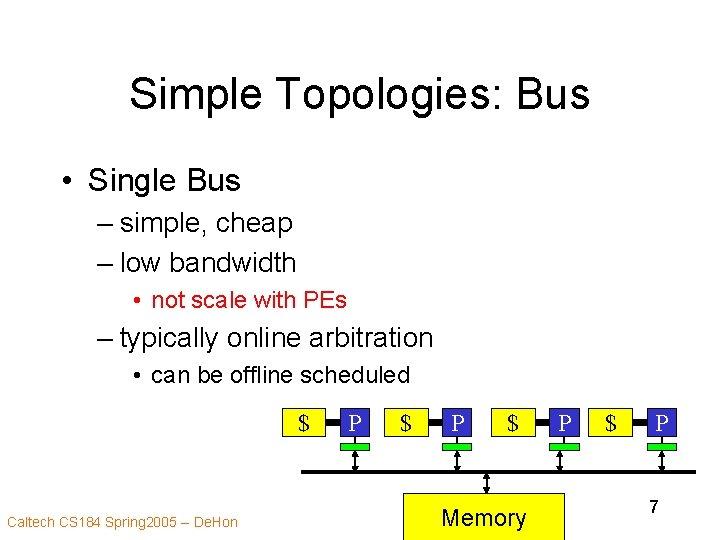 Simple Topologies: Bus • Single Bus – simple, cheap – low bandwidth • not