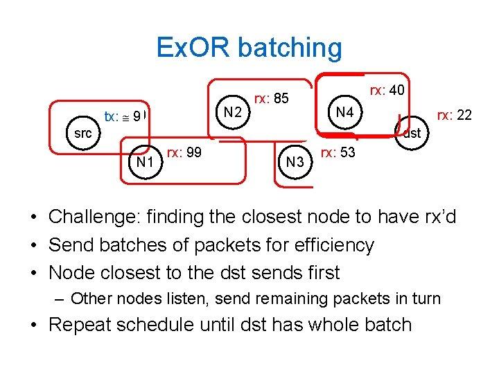 Ex. OR batching tx: 100 9 src rx: 99 88 N 1 tx: 8