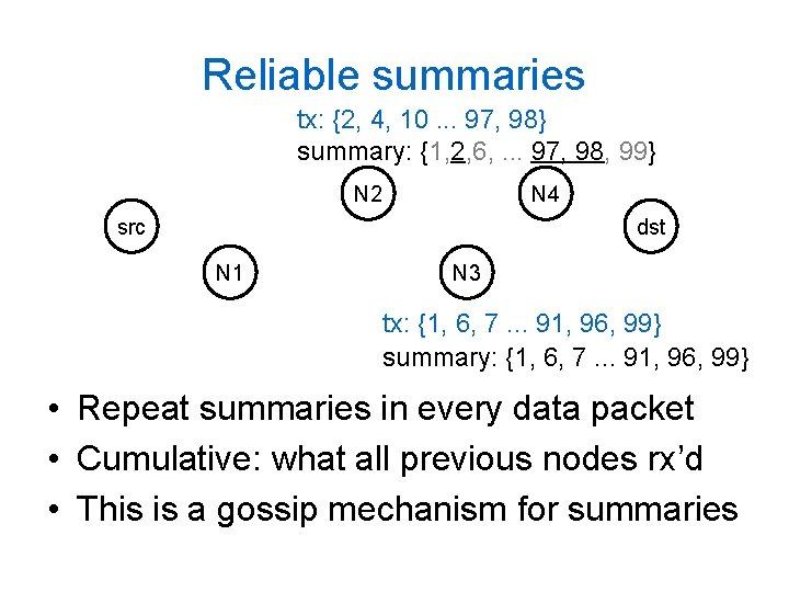 Reliable summaries tx: {2, 4, 10. . . 97, 98} summary: {1, 2, 6,