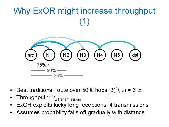 Why Ex. OR might increase throughput (1) src N 1 N 2 N 3